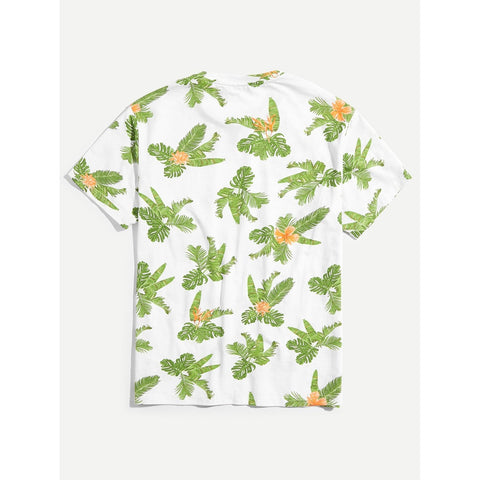 Men Allover Jungle Leaf Print Tee