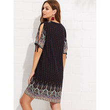 Knot Cuff Geo Print Tunic Dress