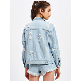 Ripped O-Ring Detail Denim Jacket