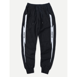 Men Letter Print Side Drawstring Sporty Pants