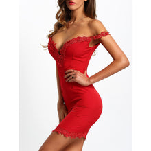 Sweetheart Contrast Lace Bodycon Dress