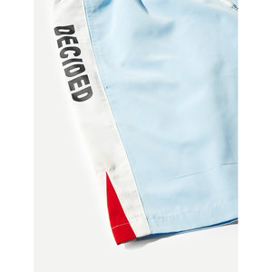 Men Pocket Patched Tape Shorts