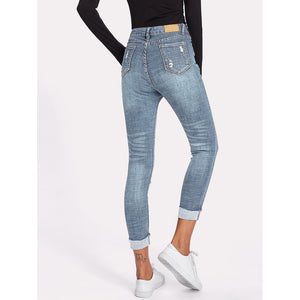 Rolled Hem Ripped Skinny Jeans