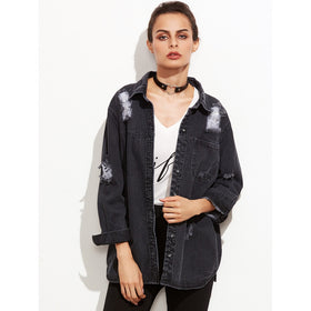 Distressed Hidden Button Front Denim Jacket