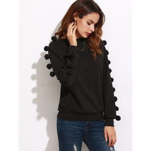 Raglan Sleeve Sweatshirt With Pom Pom