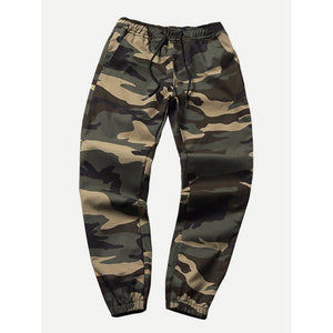 Men Drawstring Camo Pants