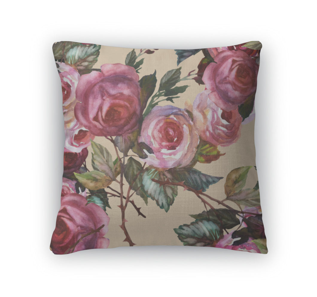 Throw Pillow, Roses Pattern