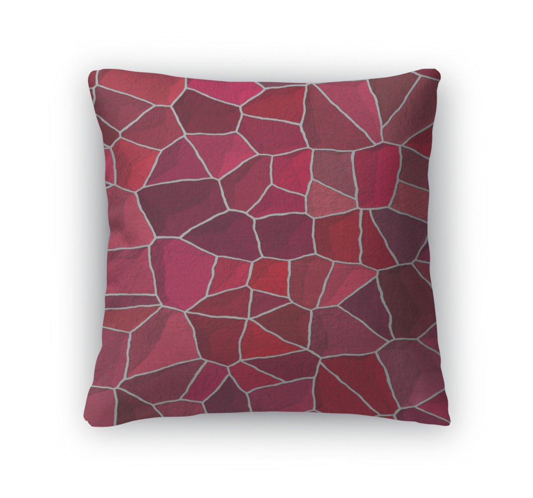 Throw Pillow, Cracked Multi Colored Pattern In Red And Pink