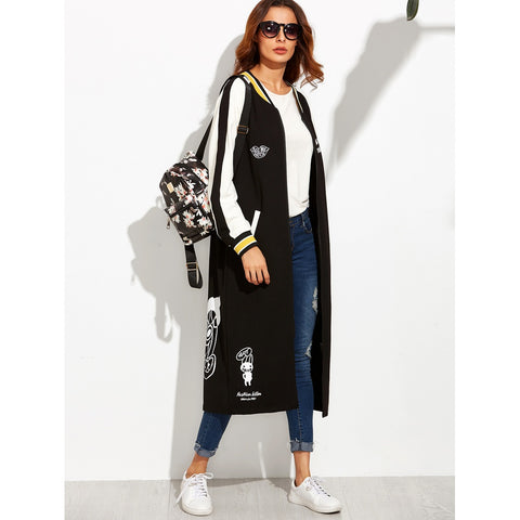 Cartoon Print Striped Raglan Sleeve Longline Baseball Jacket