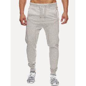 Men Drawstring Plain Sporty Pants