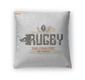 Throw Pillow, College Rugby Team Emblem