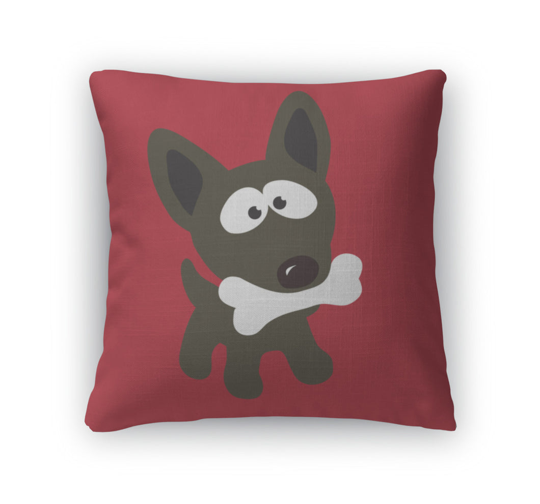 Throw Pillow, Small Dog With Bone