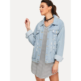 Ripped Drop Shoulder Denim Jacket