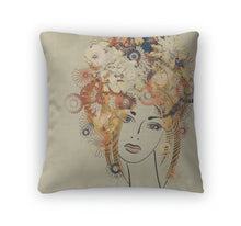 Throw Pillow, Art Sketching Beautiful Girl Face
