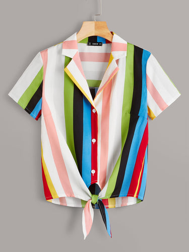 Colorful Striped Knotted Hem Shirt