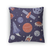 Throw Pillow, Pattern With Planets And Stars