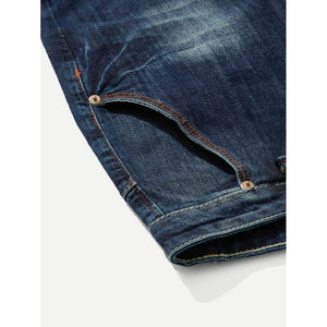 Men Ripped Stretch Slim Jeans Witih Patches