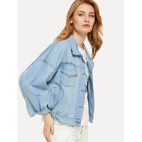 Light Wash Boyfriend Denim Jacket With Detachable Hood