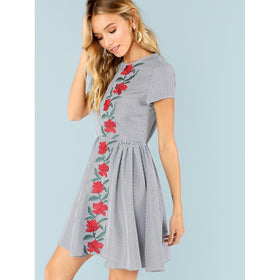 Rose Embroidered Fit and Flare Dress
