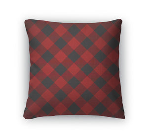 Throw Pillow, Lumberjack Plaid Pattern Tilted