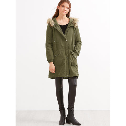 Olive Green Faux Fur Hooded Parka Coat
