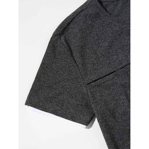 Men Heathered Knit Patched Tee
