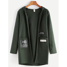 Dark Green Patch Pockets Hooded Coat