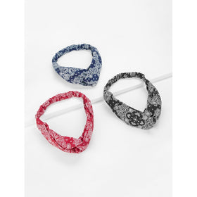 Paisley Print Twist Headband 3pcs