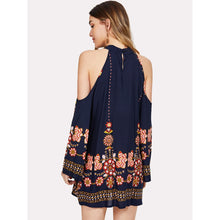 Halter Cold Shoulder Tribal Floral Dress
