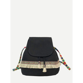 Tassel Detail Flap Crossbody Bag