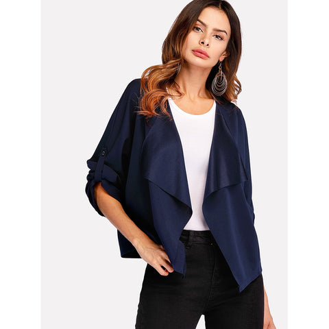 Roll Tab Sleeve Waterfall Coat