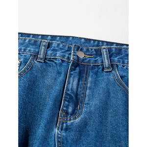 Men Embroidery Detail Ripped Jeans