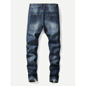 Men Zipper Destroyed Jeans