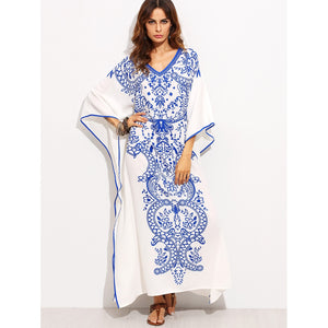 V Neckline Print Batwing Sleeve Kaftan Dress