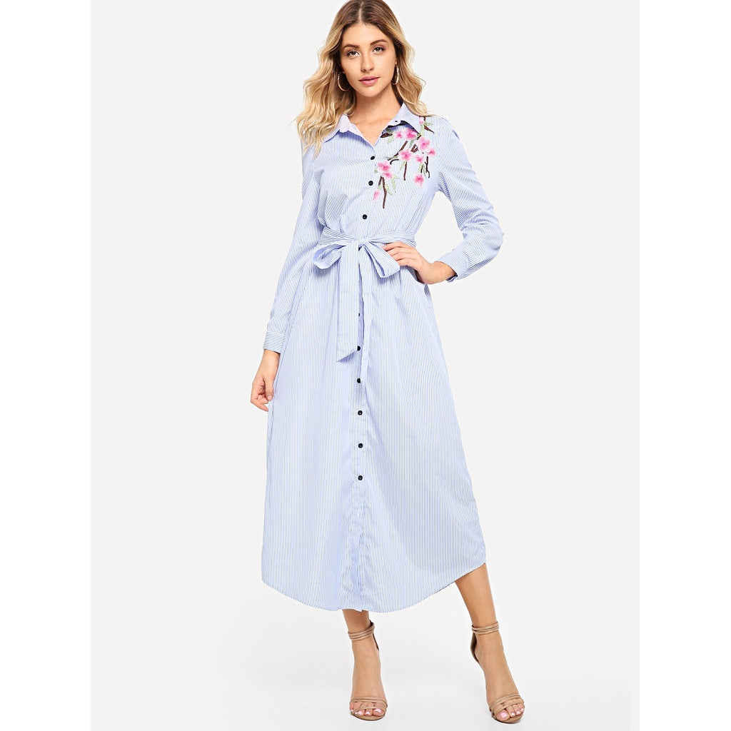 Floral Embroidered Curved Hem Shirt Dress