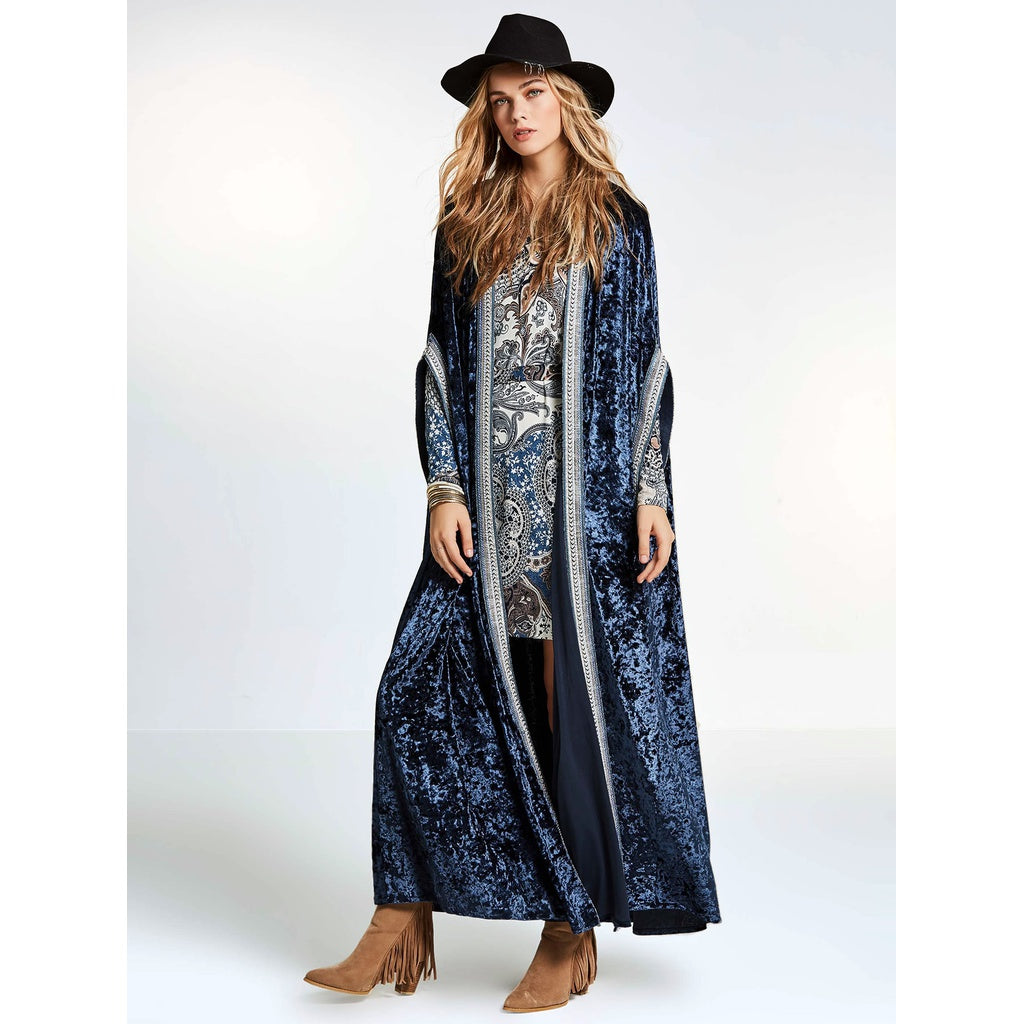 Embroidered Taped Trim Velvet Longline Cardigan