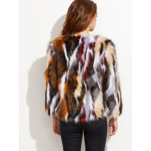 Multicolor Open Front Faux Fur Coat