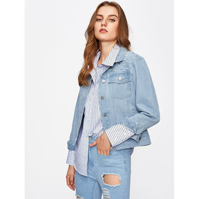 Pearl Beading Light Wash Denim Jacket