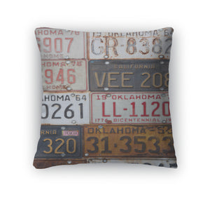 Throw Pillow, Group Of Old Vintage American License Plates