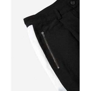 Men Zip Pocket Button Hem Tape Pants