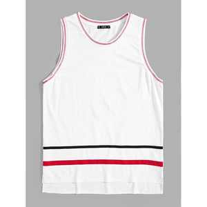 Men Contrast Binding Striped Tank Top