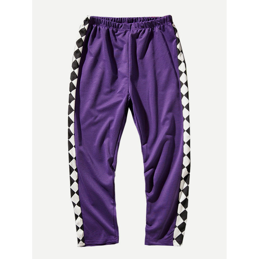 Men Argyle Print Straight Leg Pants