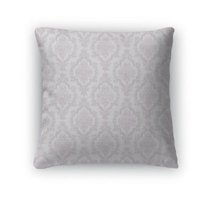 Throw Pillow, Lavender White Damask