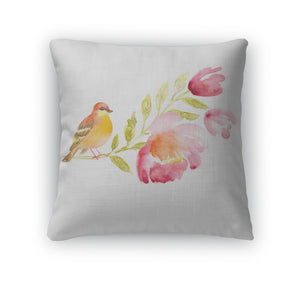 Throw Pillow, Watercolor With Bird And Beautiful Flowers