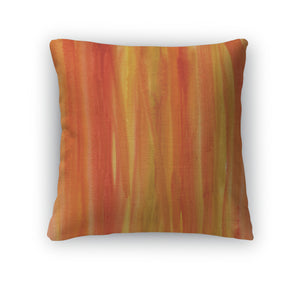 Throw Pillow, Red Brown Yellow Watercolor Abstract