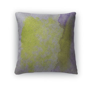 Throw Pillow, Watercolor Yellow Purple Abstract Paint Color Blob D