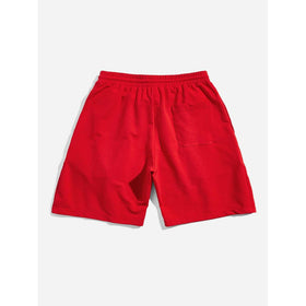 Men Drawstring Waist Slant Pocket Shorts