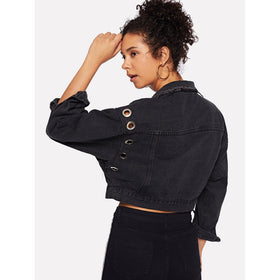 Denim Ring Detail Dual Pocket Jacket