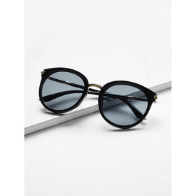 Two Tone Frame Flat Lens Sunglasses