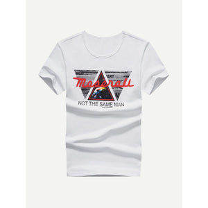 Men Geo And Letter Print Tee